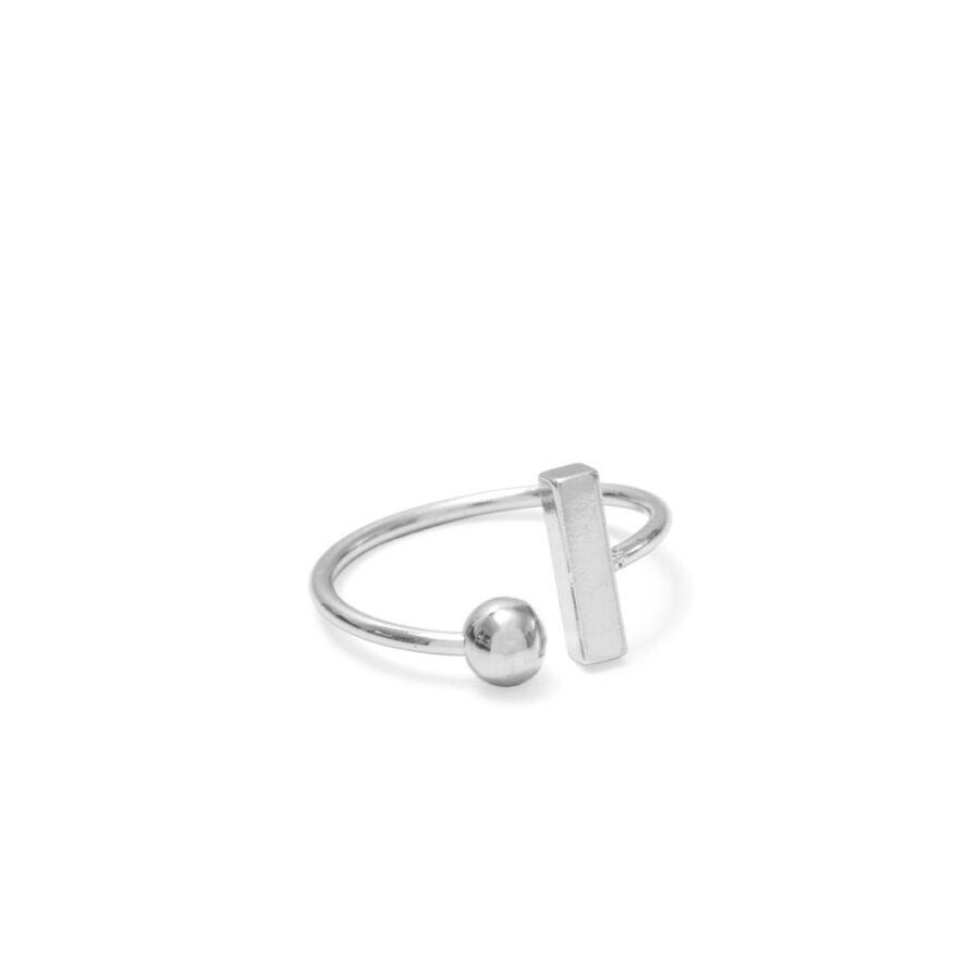Silver Ball & Bar Ring
