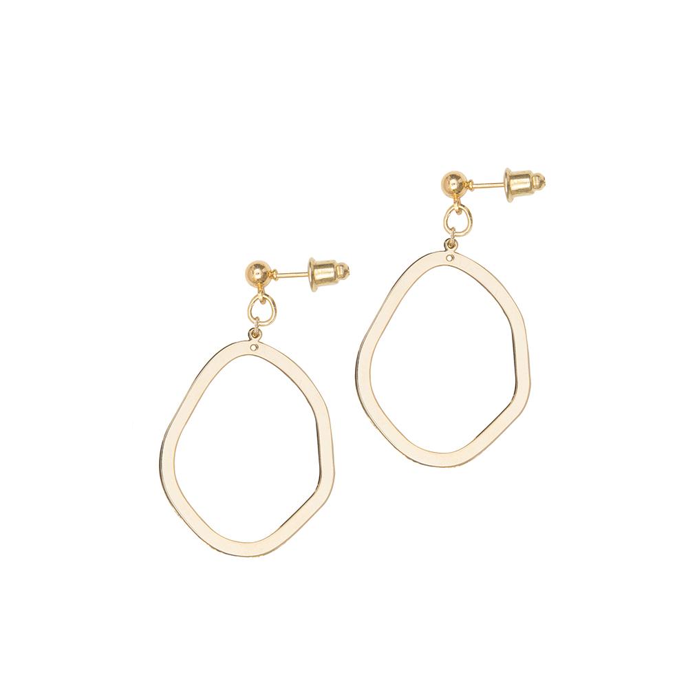 Gold Asymmetric Oval Earrings