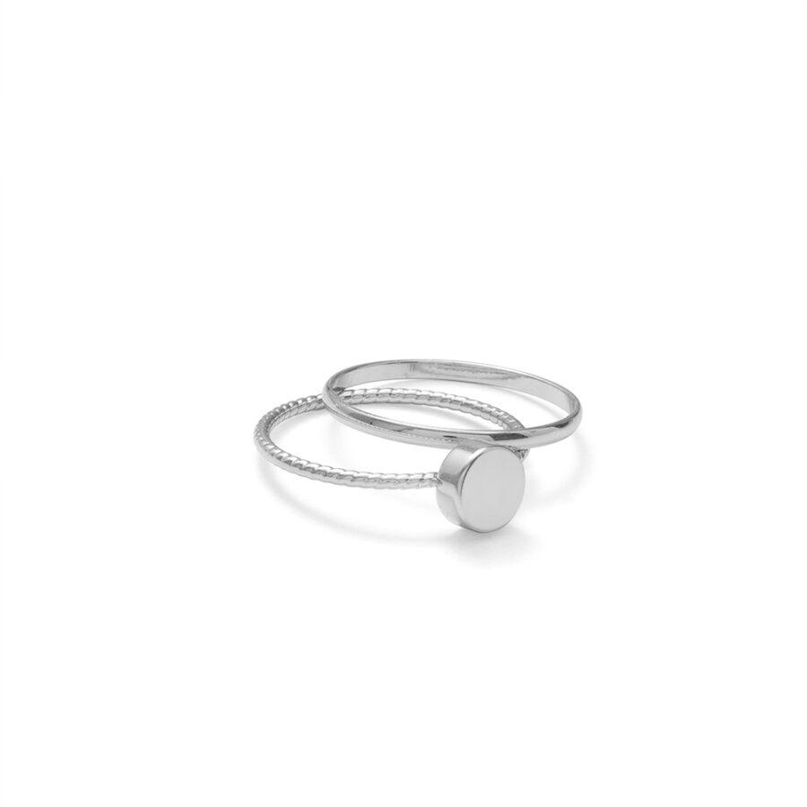Silver Metal Ring Set